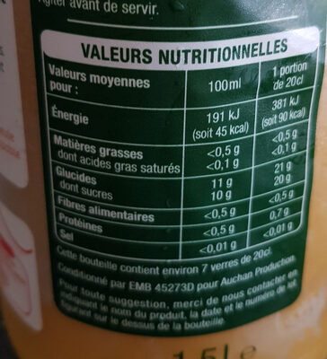 Multifruit 100% pur jus - Nutrition facts