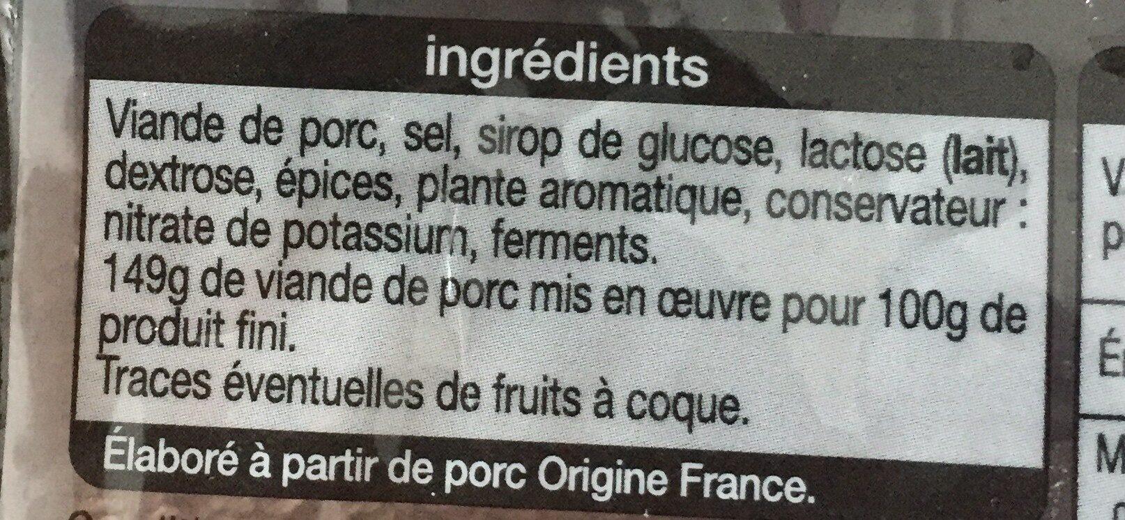 Saucisson sec tranché - Ingrédients