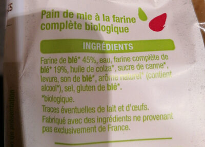 Pain de mie complet bio - Ingredienti