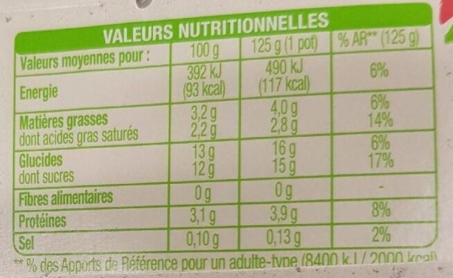 Yaourt Vanille - Nutrition facts