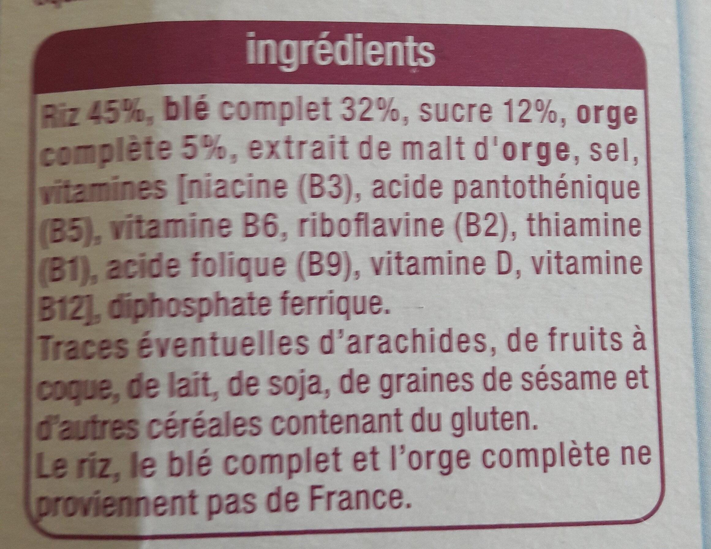 Pétales de riz, blé complet & orge complète - Ingredients - fr