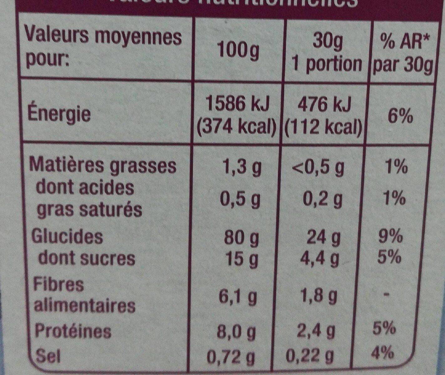 Pétales de riz, blé complet & orge complète - Nutrition facts - fr