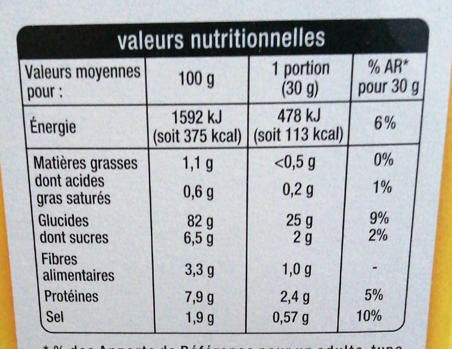 Pétales de mais Corn flakes - Informations nutritionnelles - fr