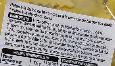 Ravioli Boeuf - Ingrédients