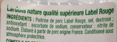 Lardons nature Auchan label rouge - Ingredients
