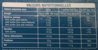 Saumon fumé de Norvège - Voedingswaarden - fr