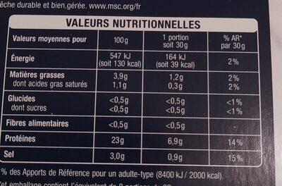Saumon rouge du Pacifique fumé au bois de hêtre - Valori nutrizionali - fr