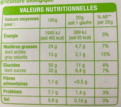 Gaufres pur beurre Bio - Informations nutritionnelles - fr