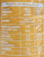 Coquillette blé complet - Informations nutritionnelles - fr