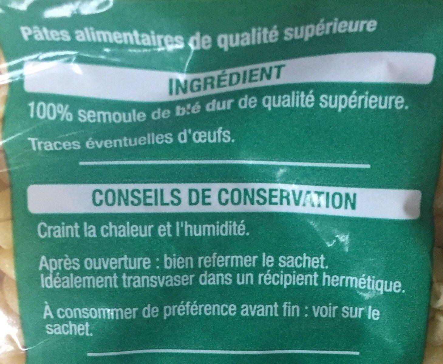 Pâtes coquillettes Auchan - Informations nutritionnelles - fr
