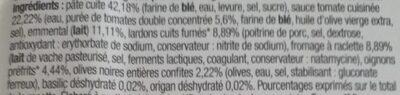 Pizza Raclette Lardons fumés 450g Auchan - Ingredients