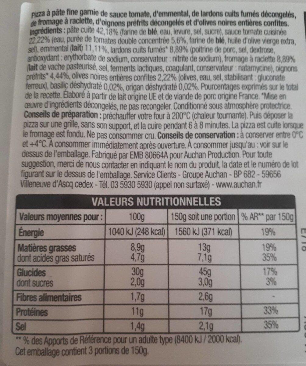 Pizza Raclette Lardons fumés 450g Auchan - Nutrition facts
