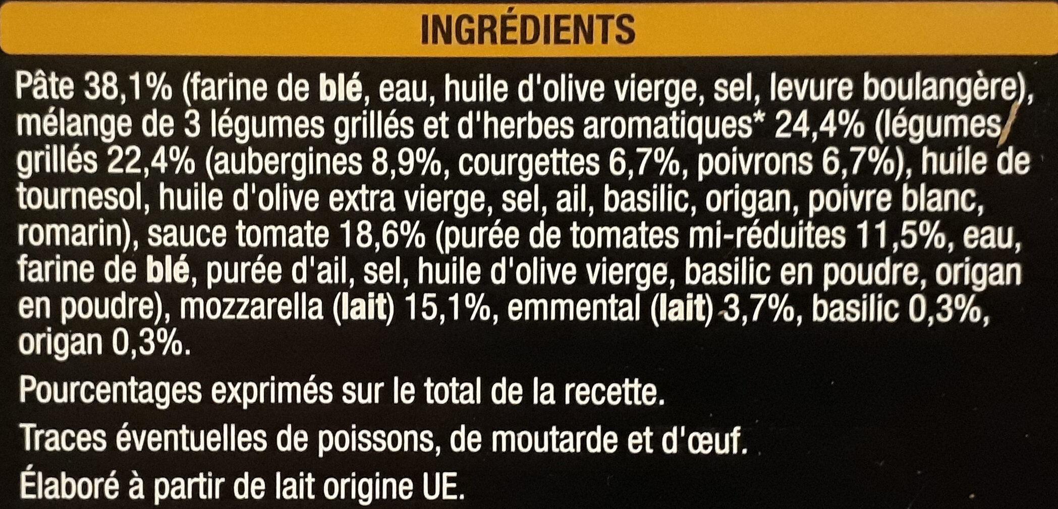 Pizza Primavera - légumes grillés et mozzarella - Ingredients - fr