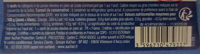Oeufs Plein Air Gros par 6 - Informations nutritionnelles - fr