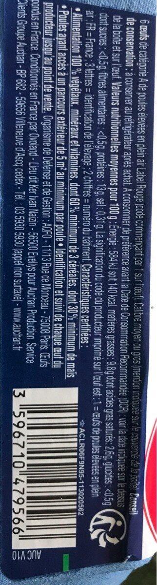 Oeufs plein air label rouge - Valori nutrizionali - fr