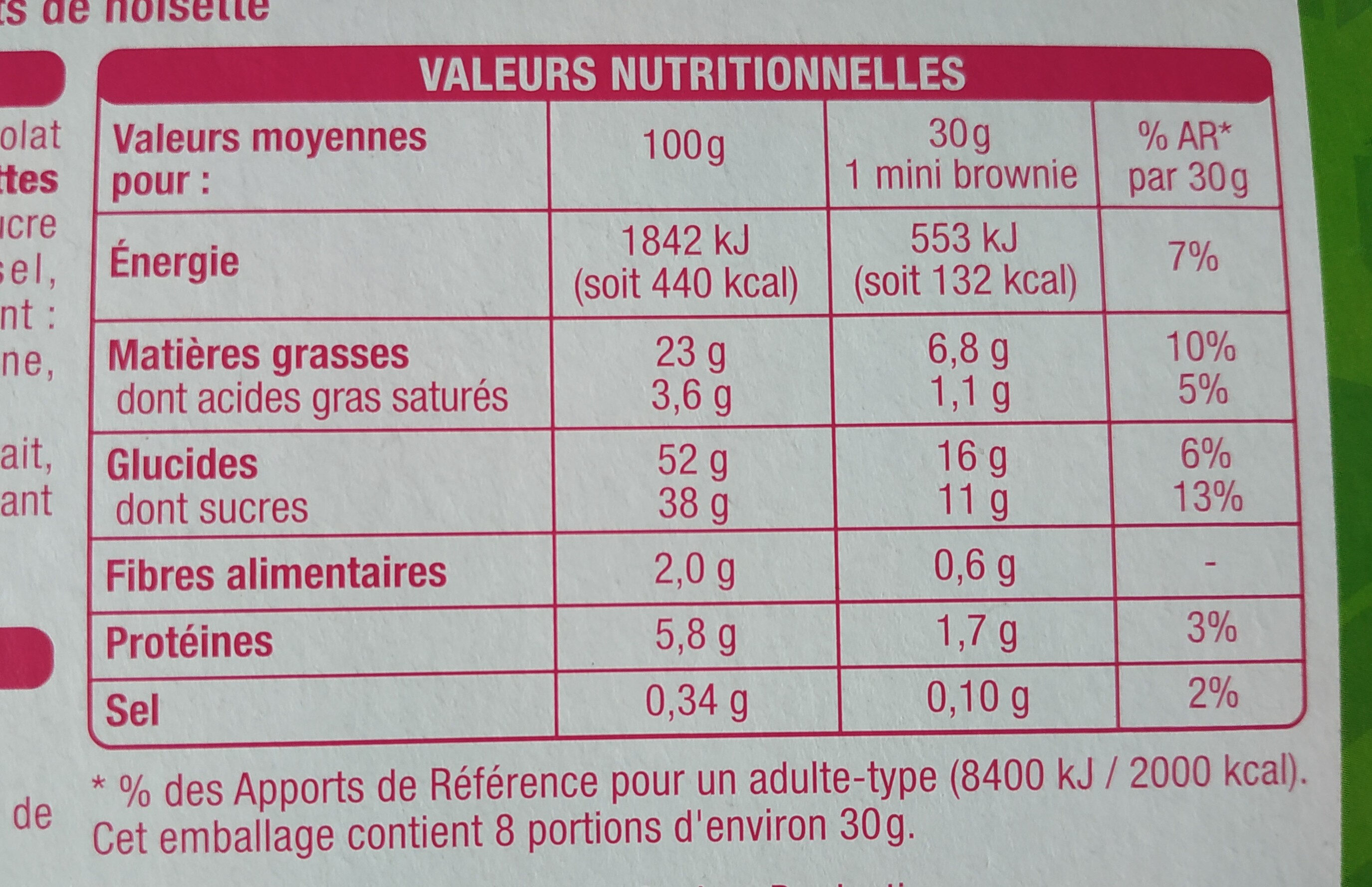 Auchan Mini brownies chocolat noisettes - Nutrition facts - fr