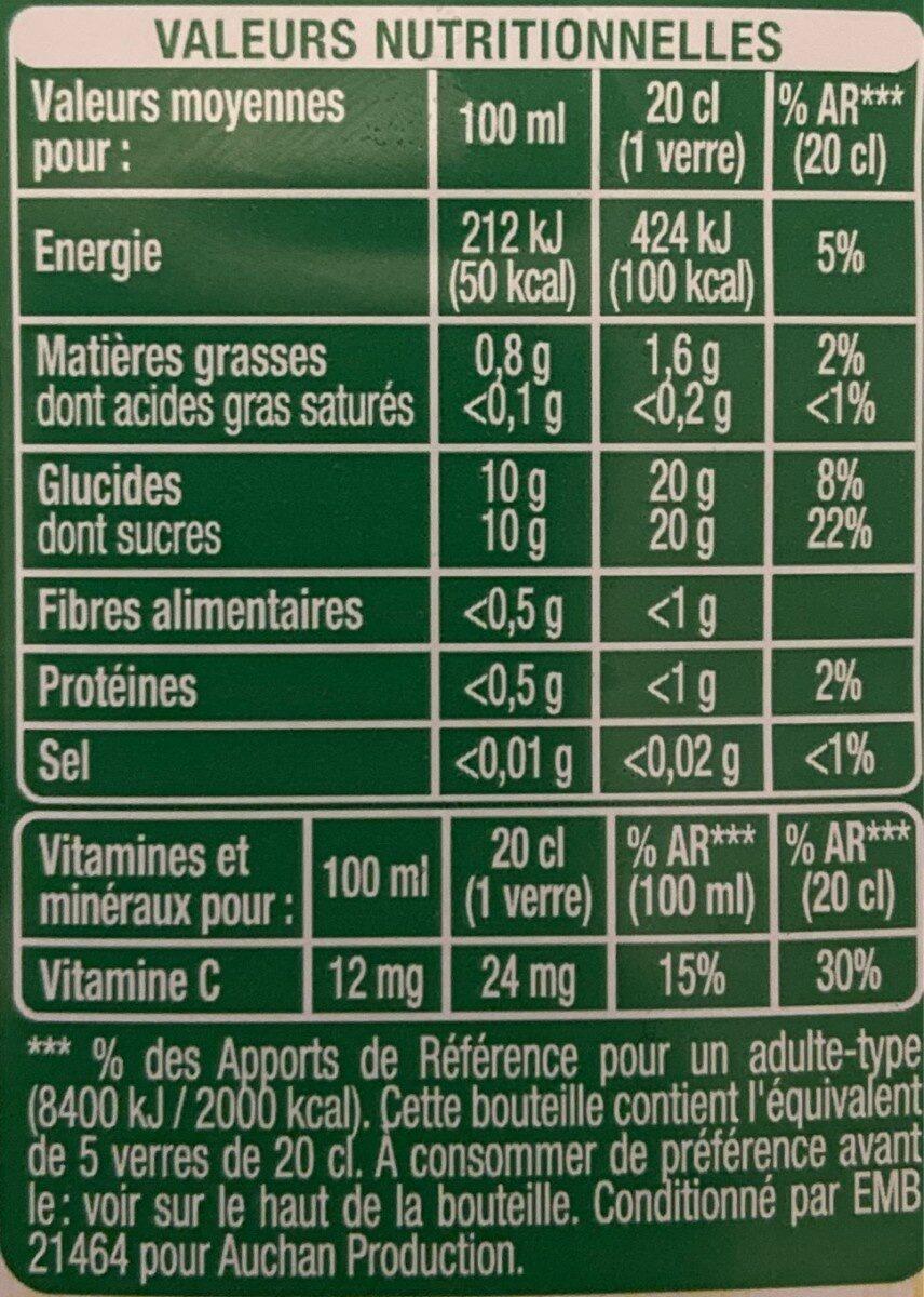 Jus orange, raisin, kiwi, citron vert - Nährwertangaben - fr