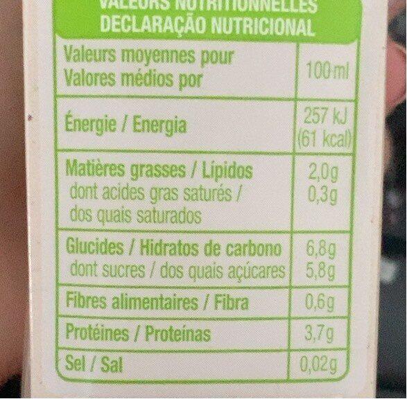 Lait soja bio - Valori nutrizionali - fr