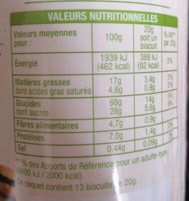 Mon goûter chocolat - Valori nutrizionali - fr