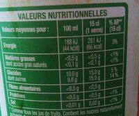 Pur jus 100% pommes - Valori nutrizionali - fr
