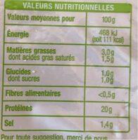 Jambon cuit sans couenne - Informations nutritionnelles - fr