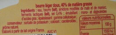 Beurre Léger - Ingrédients - fr