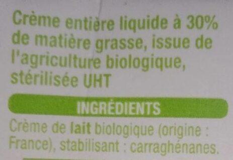 Crème entière - Ingrediënten - fr