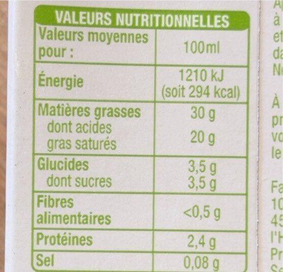 Bio Equitable Crème entière 30% Fluide - Informations nutritionnelles - fr