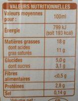 Crème légère semi-épaisse - Valori nutrizionali - fr
