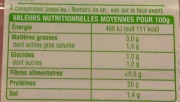 Jambon de Paris sans couenne - Voedingswaarden - fr