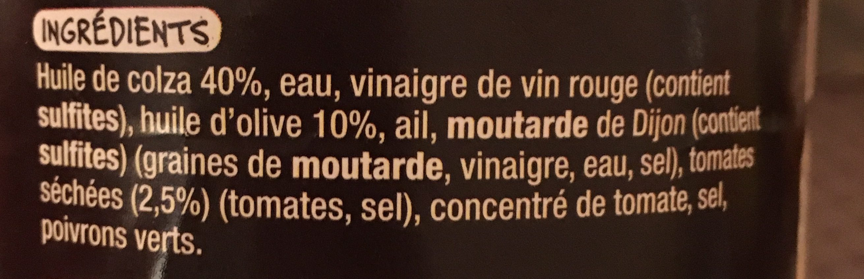 Sauce vinaigrette a l'huile d'olive et tomates sechées - Ingrédients
