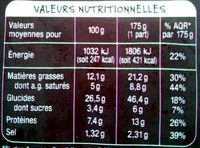 Tarte flambée alsacienne - Nutrition facts - fr