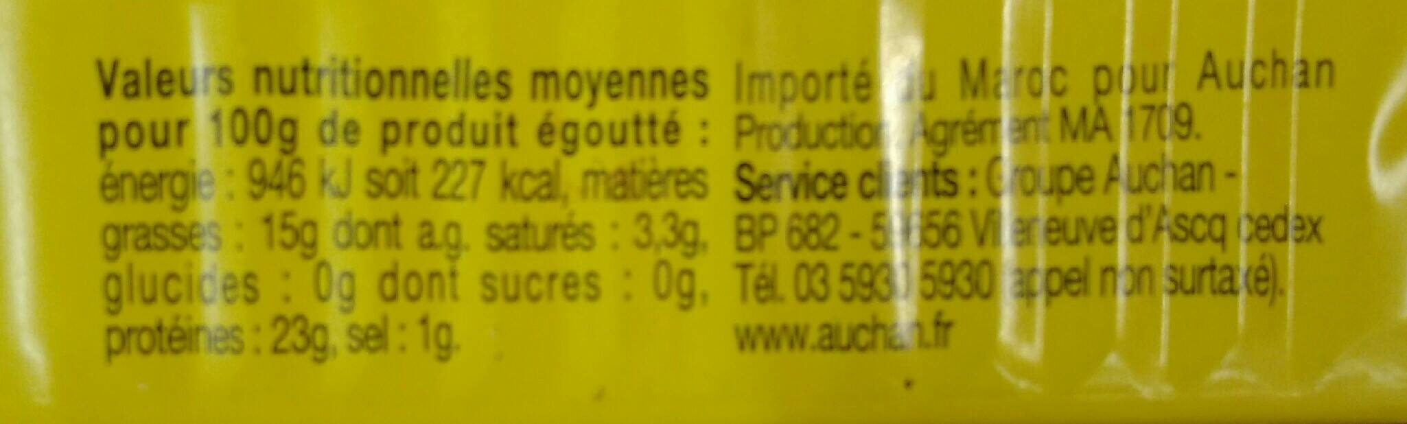 Sardines à l'huile de tournesol - Nutrition facts - fr