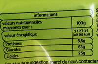 Cookies goût chocolat - Nutrition facts - fr