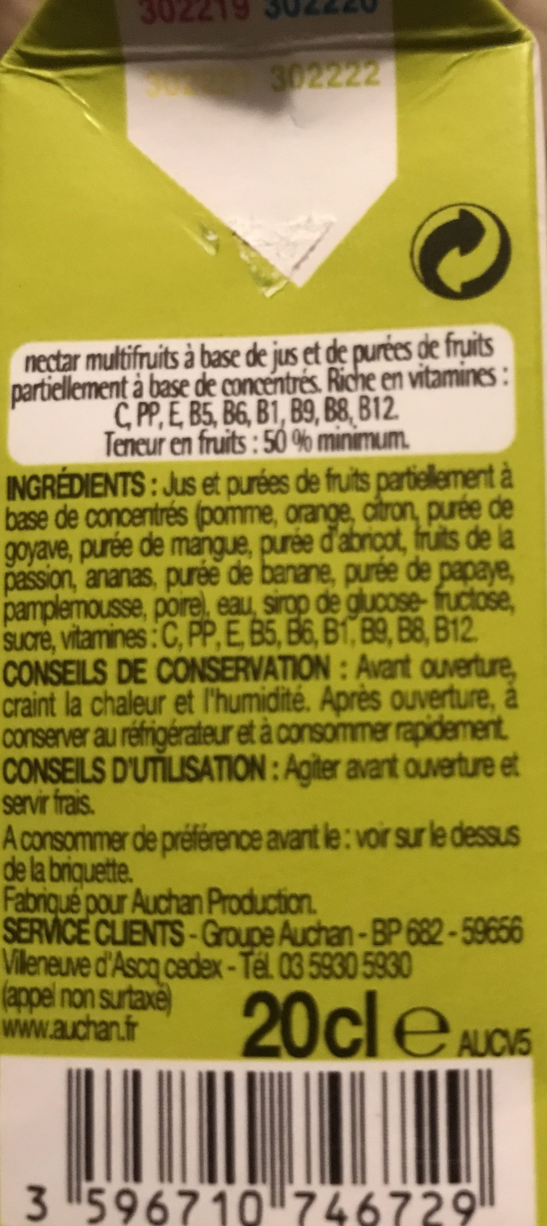 Nectar multivitamine 12 fruits - Ingrediënten - fr