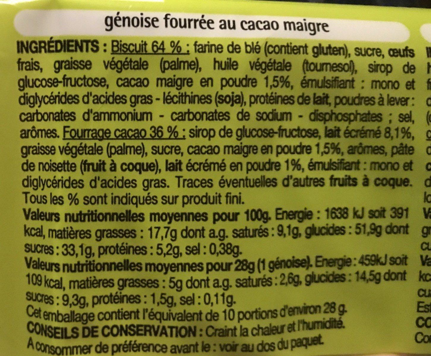 Duo de Génoises - Ingredients - fr
