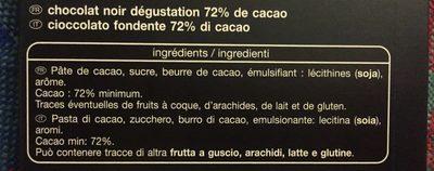 Noir dégustation 72% - Ingrediënten