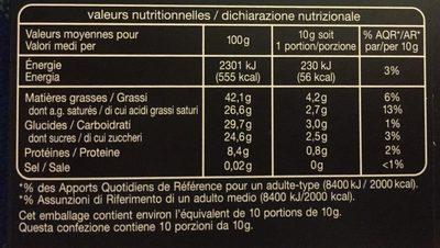 Noir dégustation 72% - Voedigswaarden