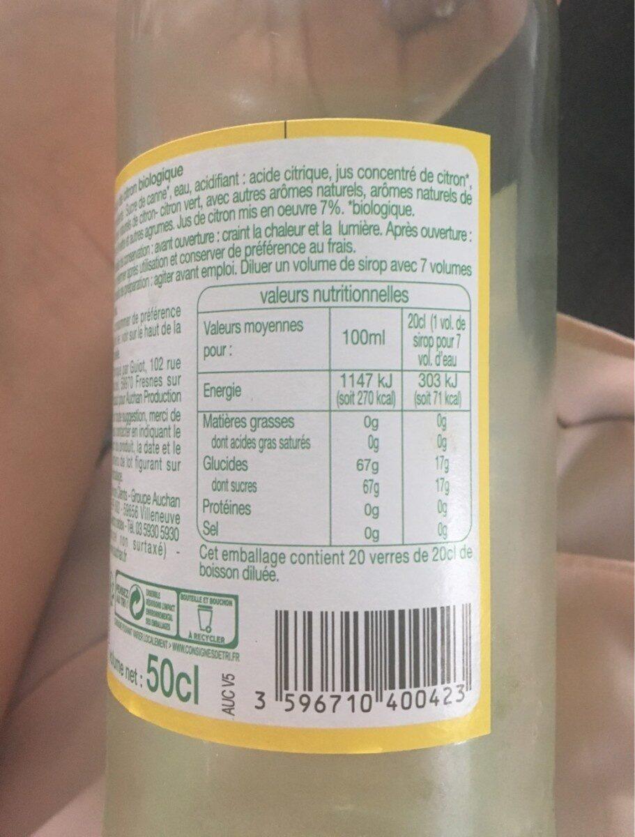 Sirop de citron - Voedingswaarden - fr