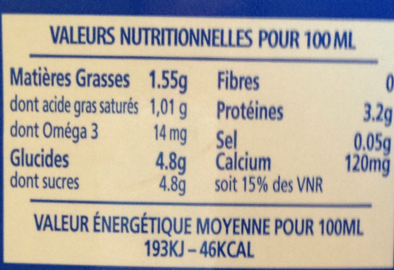 Lait demi-écrémé Bleu-Blanc-Coeur UHT - Informations nutritionnelles