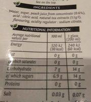 Peach tea - Informations nutritionnelles - fr