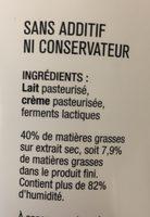 Le fromage blanc des Limousins - Ingredients