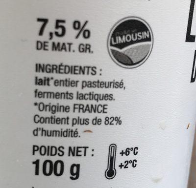 La faisselle des Limousins - Ingrédients