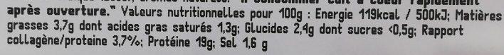 Haché de Bœuf à l'Échalote - Informations nutritionnelles - fr