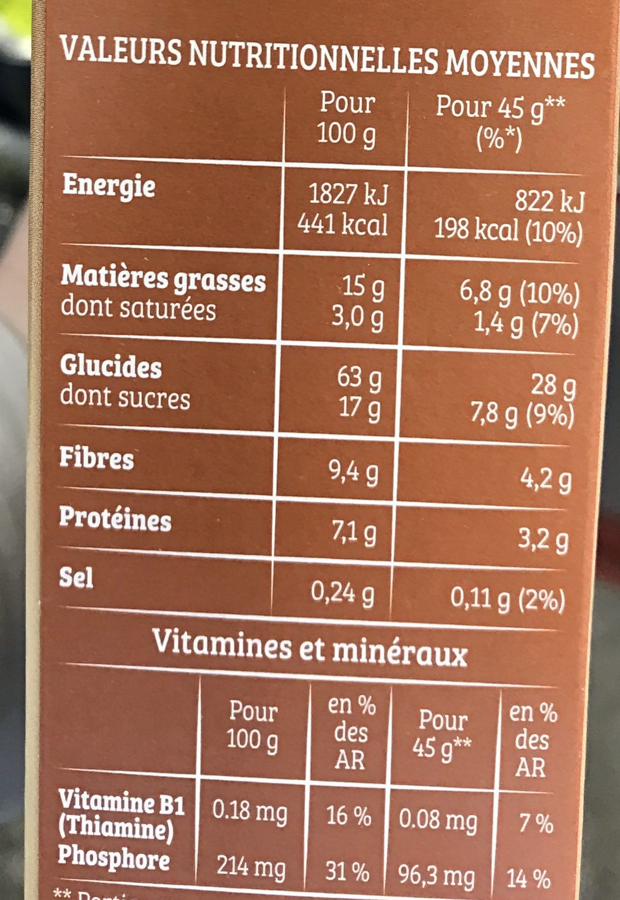 Cruesli Chocolat Cappuccino - Nutrition facts - fr