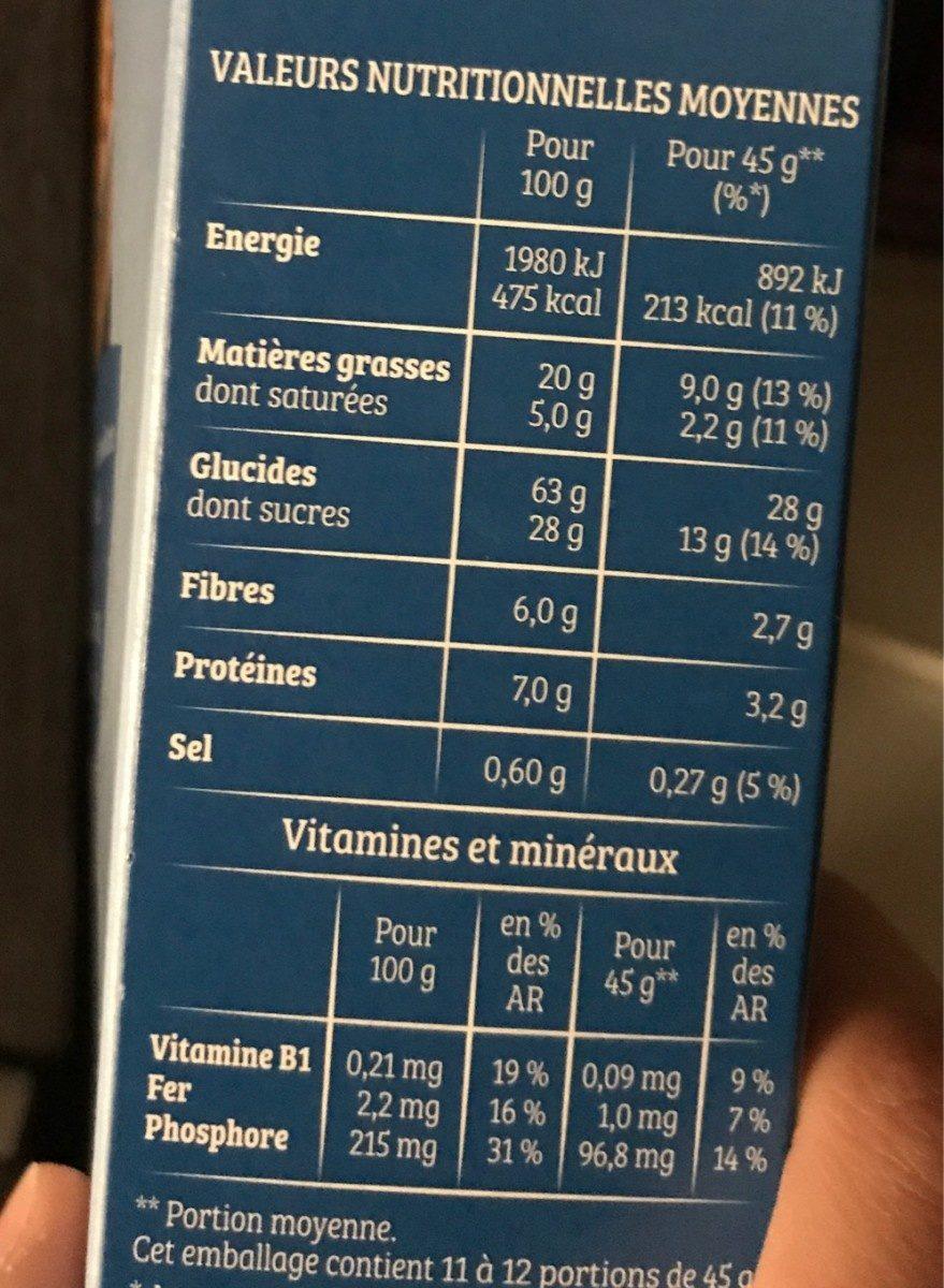 Cruesli chocolat au lait - Valori nutrizionali - fr