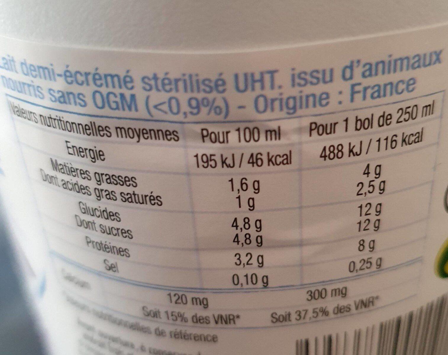 LAIT DEMI-ECREME - Nutrition facts - fr