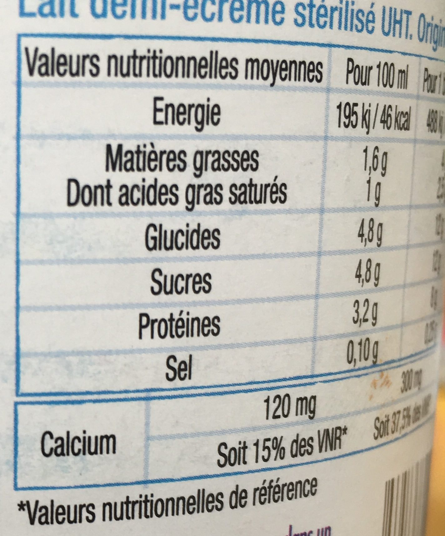Lait demi-écrémé - Nutrition facts