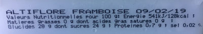 Framboise - Informations nutritionnelles - fr