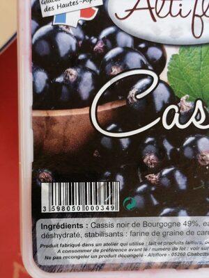 Sorbet cassis - Informations nutritionnelles - fr